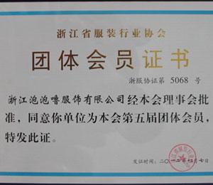 浙江省服装行业协会团体会员证书