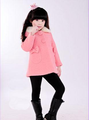 蝴蝶果童装冬季新款毛呢外套(3)