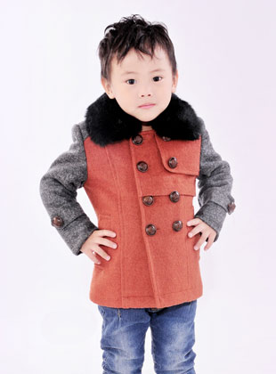 蝴蝶果童装冬季新款毛呢外套(4)