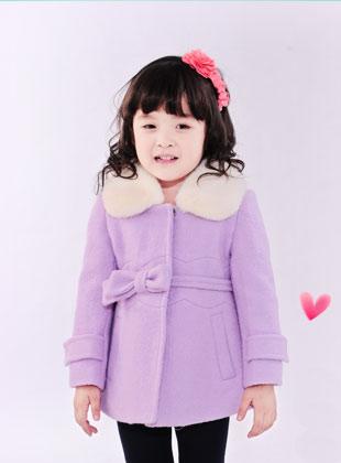 蝴蝶果童装冬季新款毛呢外套