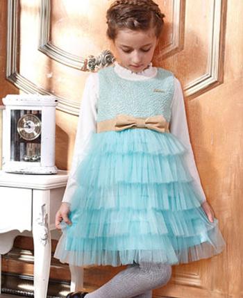 空中天使童装蓝色纱裙