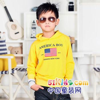 儿童 卫衣/秋天是收获的季节,金黄的稻谷,飘落的枫叶,鲜明的黄色调,在...