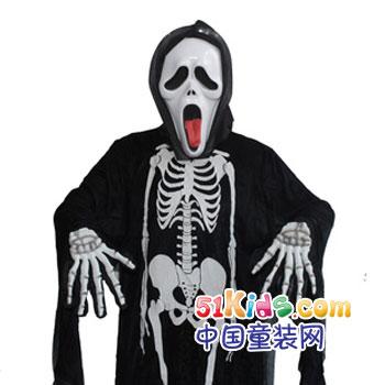 千奇坊化妆舞会万圣节服装大人儿童衣服道具骷髅骨架鬼衣魔鬼面具-