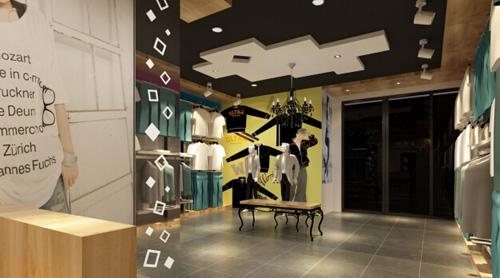 服装店半圆形柜台手绘效果图