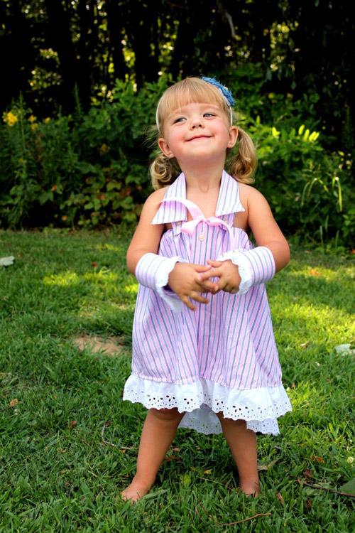 花边,丝带的加入让裙子更有田园的味道,爸爸的袖子也可以改造