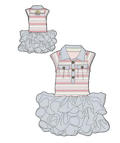 童装t恤连衣裙设计手稿