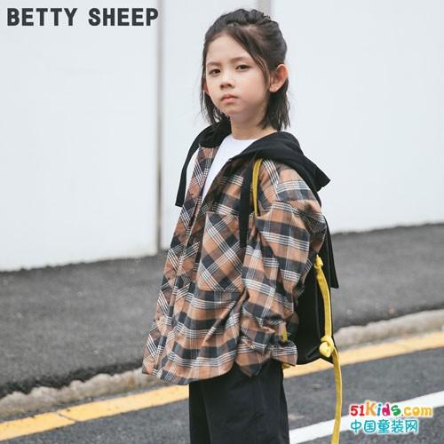 贝蒂小羊童装 格纹撞见牛仔服都是满满的个性时尚风