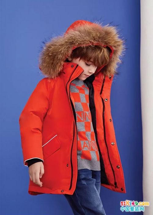 安奈儿童装,橙色系活力少年