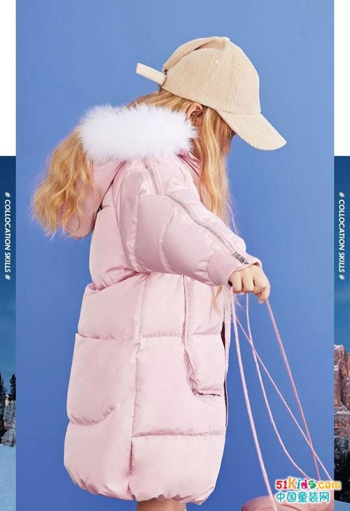 安奈儿童装粉系羽绒 雪地里开着一朵粉色小花