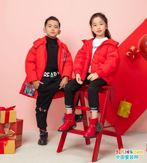 逢新春穿出中国红,还看杰米熊童装